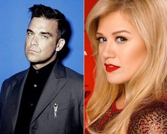 "Imagem: Confira o dueto de Robbie Williams e Kelly Clarkson, ""Little Green Apples"""