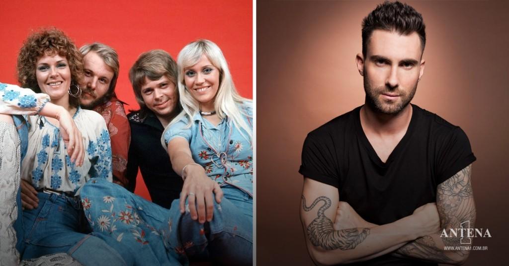 Placeholder - loading - ABBA e Adam Levine em seus respectivos cenários
