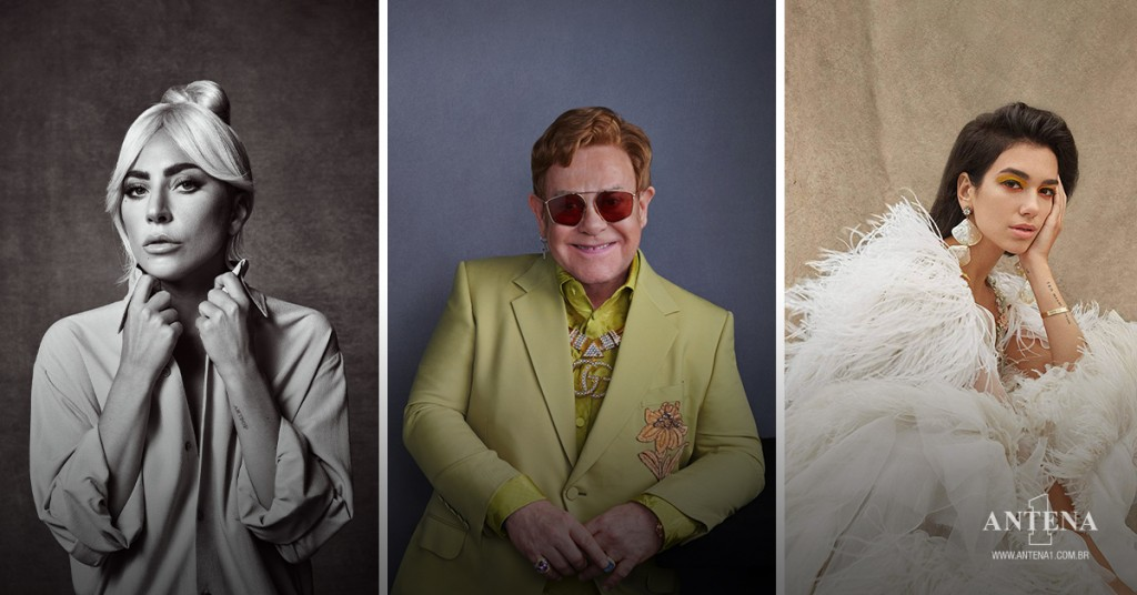 Placeholder - loading - Lady Gaga, Elton John e Dua Lipa em seus respectivos cenários