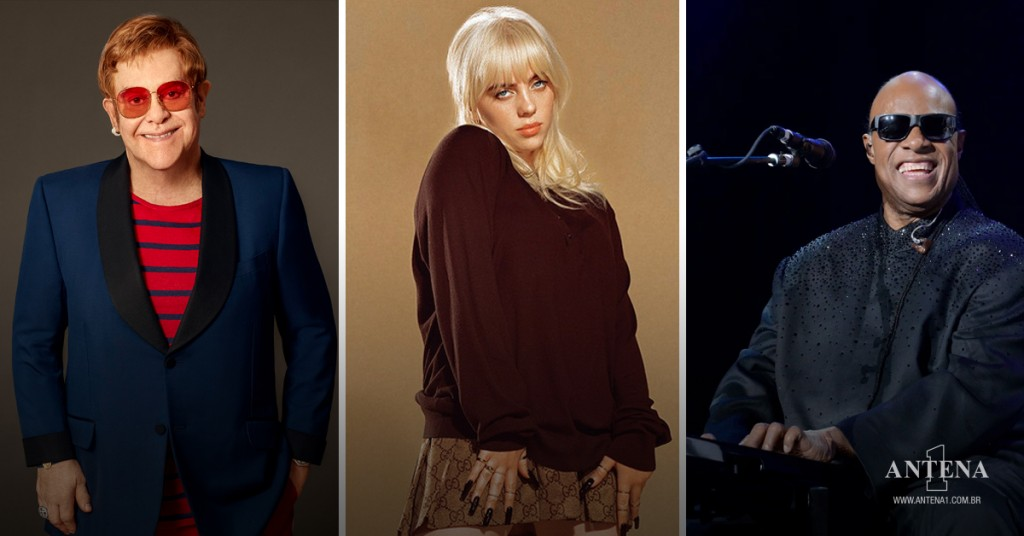 Placeholder - loading - Photoshoot dos artistas, Elton John, Billie Eilish e Stevie Wonder