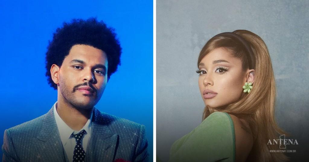 Placeholder - loading - The Weeknd e Ariana Grande em seus respectivos cenários