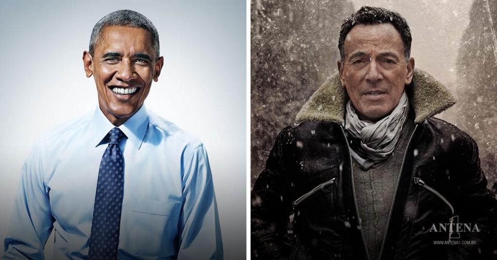 Placeholder - loading - Barack Obama e Bruce Springsteen em seus respectivos cenários