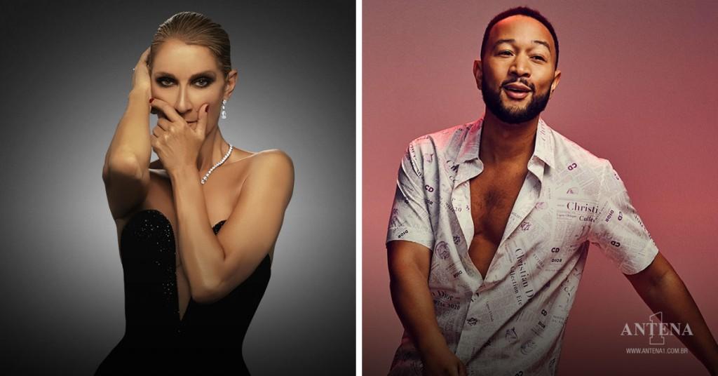Placeholder - loading - Celine Dion e John Legend em seus respectivos cenários