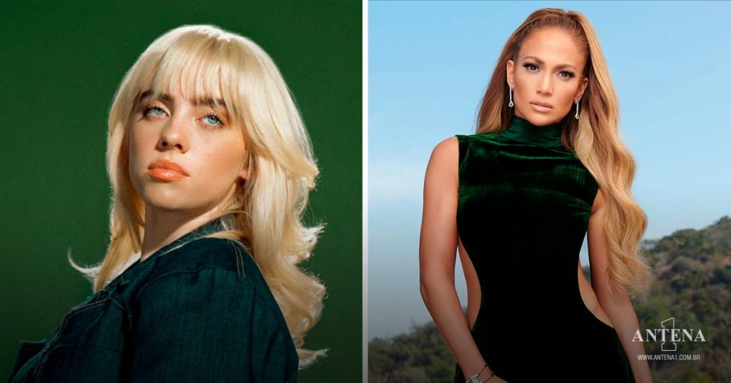 Placeholder - loading - Billie Eilish e Jennifer Lopez em seus respectivos cenários