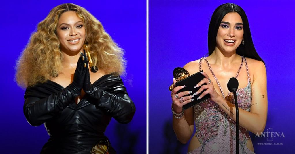 Placeholder - loading - Beyoncé e Dua Lipa recebendo prêmio
