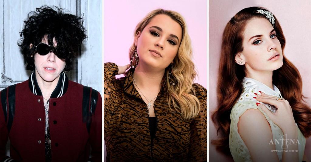 Placeholder - loading - Da esquerda para direita: LP, Gabbt Barrett e Lana Del Rey em fundos de cores: branco rosa pink e rosa claro – Antena 1/Divulgação