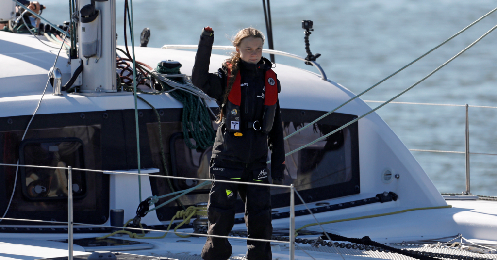 Placeholder - loading - Greta Thunberg chega a porto de Santo Amaro, em Lisboa, Portugal 3/12/2019 REUTERS/Pedro Nunes