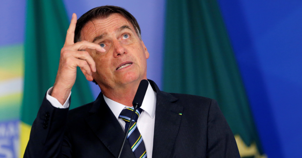 Placeholder - loading - Brazil's President Jair Bolsonaro gestures while speaking during a ceremony at the Planalto Palace in Brasilia, Brazil April 30, 2019.  REUTERS/Adriano Machado