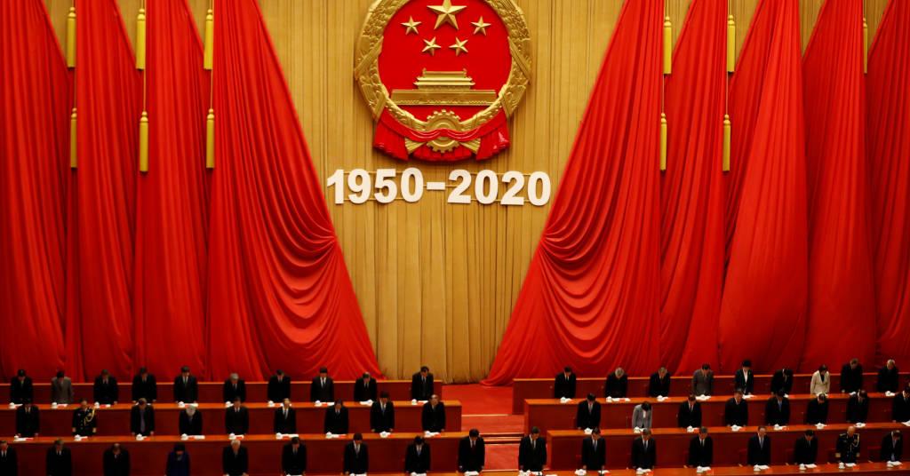 Placeholder - loading - Minuto de silêncio é observado pelo presidente da China, Xi Jinping, e outras autoridades, em homenagem aos 70 anos da entrada do país na Guerra da Coreia 23/10/2020 REUTERS/Carlos Garcia Rawlins