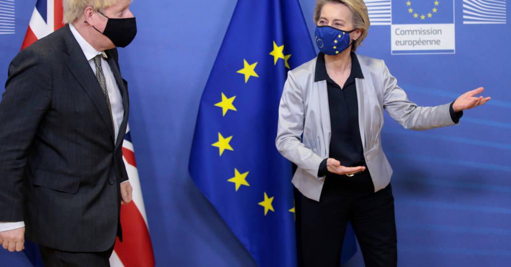 Placeholder - loading - Presidente da Comissão Europeia, Ursula von der Leyen, recebe o premiê britânico, Boris Johnson, em Bruxelas. Olivier Hoslet/Pool via REUTERS