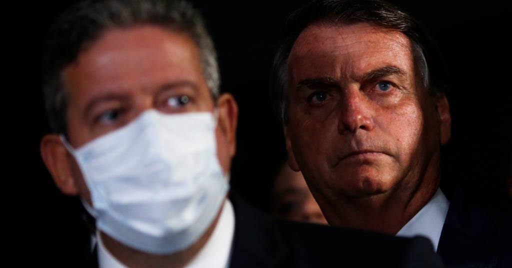 Placeholder - loading - Presidente da Câmara, Arthur Lira, e o presidente Jair Bolsonaro participam de coletiva no Congresso 23/02/2021 REUTERS/Adriano Machado