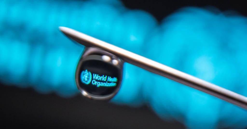 Placeholder - loading - Logotipo da Organização Mundial da Saúde é refletido em uma gota na agulha de uma seringa nesta ilustração. 16/03/2021. REUTERS/Dado Ruvic.