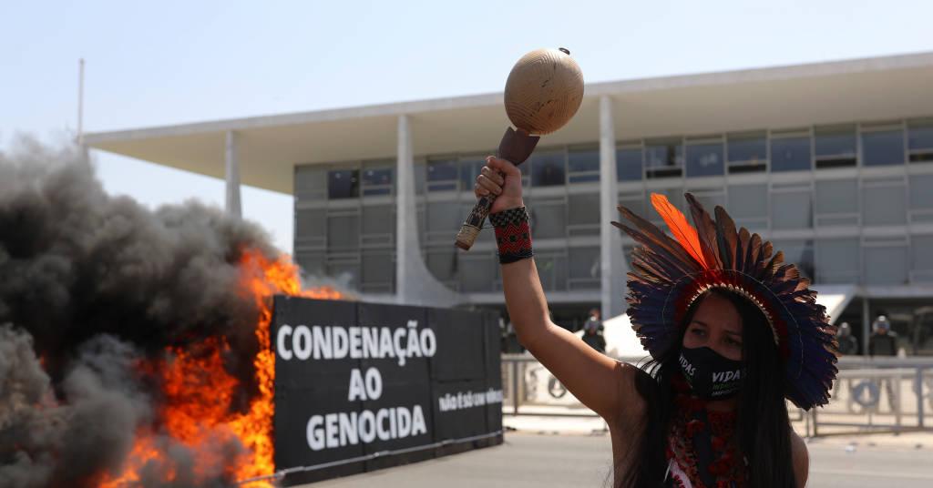 Placeholder - loading - Protesto de indígenas contra o presidente Jair Bolsonaro e o marco temporal em Brasília 27/08/2021 REUTERS/Amanda Perobelli