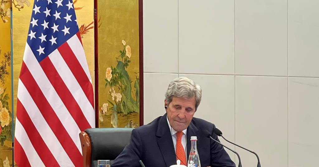 Placeholder - loading - John Kerry durante reunião por videochamada com autoridades chinesas em Tianjin 01/09/2021 Departamento de Estado dos EUA/Divulgação via REUTERS