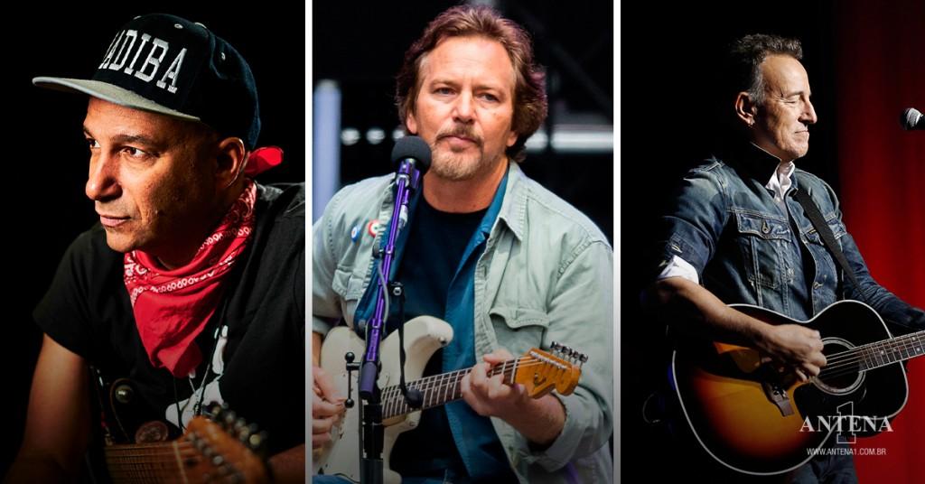 Placeholder - loading - Tom Morello, Eddie Vedder e Bruce Springsteen em seus respectivos cenários