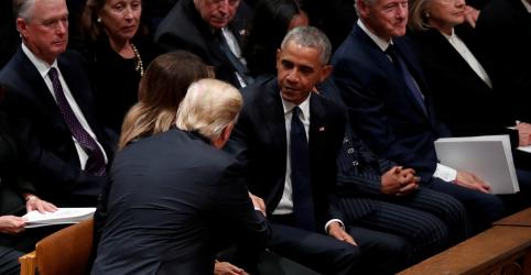 Falta de cordialidade entre Trump e ex-presidentes marca funeral de George H. W. Bush