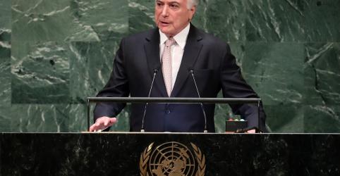 Temer defende na ONU seu governo e diz que Brasil tem democracia vibrante e sólida