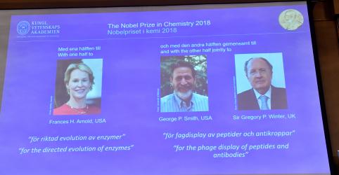 Britânico e 2 norte-americanos conquistam Nobel de Química de 2018