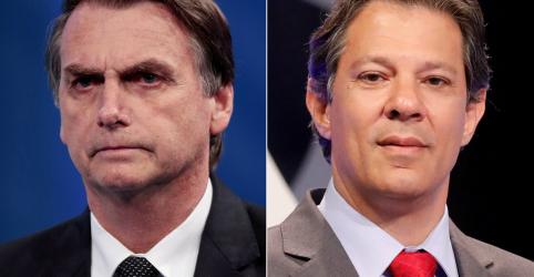 Com 94,47% da apuração, Bolsonaro lidera com 46,82% e Haddad tem 28,22%