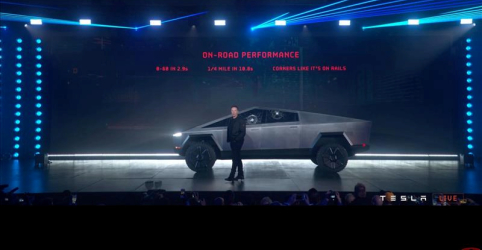 Picape elétrica da Tesla inova com design futurista