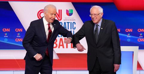 Placeholder - loading - Biden e Sanders mostram visões conflitantes em debate, mas criticam reação de Trump ao coronavírus