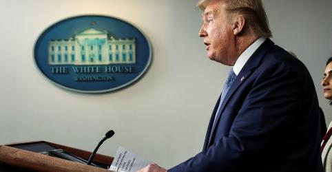 Placeholder - loading - Imagem da notícia Trump pede suspensão de atividades sociais e alerta sobre recessão nos EUA