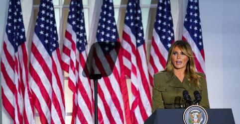 Placeholder - loading - Melania Trump mostra solidariedade a vítimas de coronavírus e sofrimento racial em convenção republicana