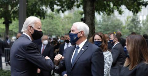 Placeholder - loading - Imagem da notícia Com máscaras, Biden e Pence visitam memorial do 11 de Setembro; Trump vai à Pensilvânia