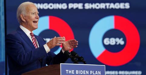 Placeholder - loading - Imagem da notícia Biden alerta sobre alta do coronavírus; Trump diz que pandemia vai acabar logo