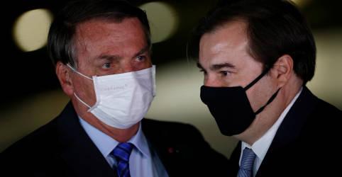 Placeholder - loading - Bolsonaro diz que aliança para sucessão na Câmara mostra que Maia e PT são coisas bem parecidas