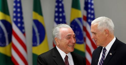 Placeholder - loading - Imagem da notícia Sob sombra da China, Pence diz a Temer que quer estreitar comércio com o Brasil