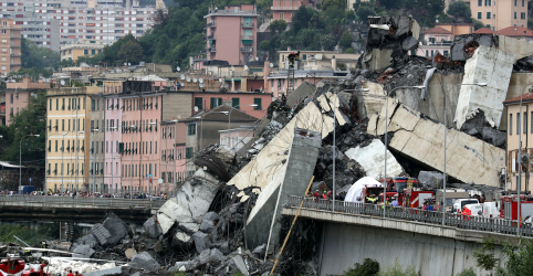 Placeholder - loading - Imagem da notícia Desmoronamento de ponte em Gênova deixa ao menos 22 mortos