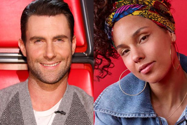 Alicia Keys se apresenta com Adam Levine Background