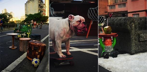 Minhocão, bulldog de skate, e Sala da Estar