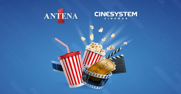 Banner da promoção Antena 1 leva você para o Cinesystem