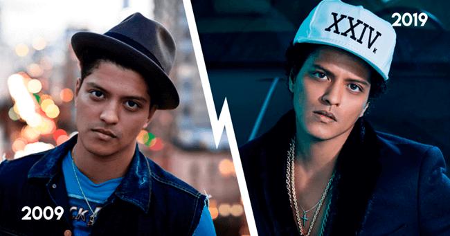 Bruno Mars em 2009, e agora, em 2019