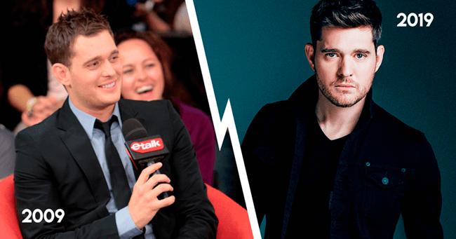 Michael Bublé em 2009, e agora, em 2019