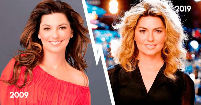 Shania Twain em 2009, e agora, em 2019
